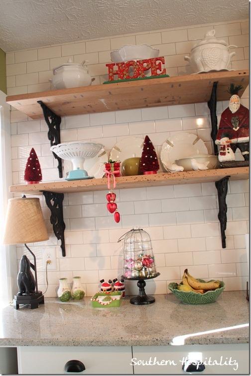 shelves at Christmas