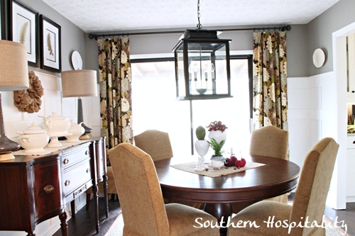 Floral Drapes in the Dining Room - Southern Hospitality