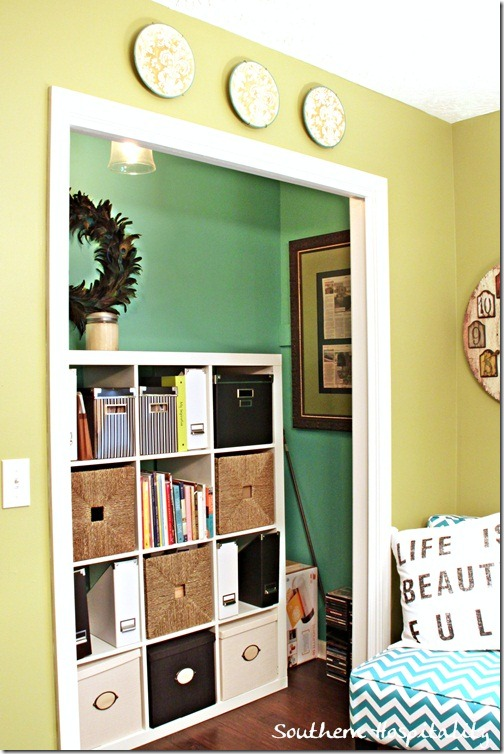 Home office makeover before and after for Ikea expedit closet