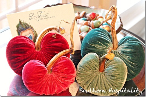 Red and turquoise plush pumpkins