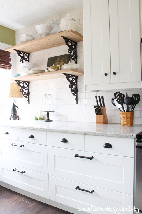 Open Shelving Above Stove