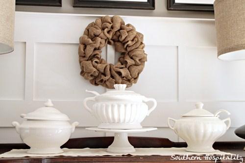 sideboard burlap wreath