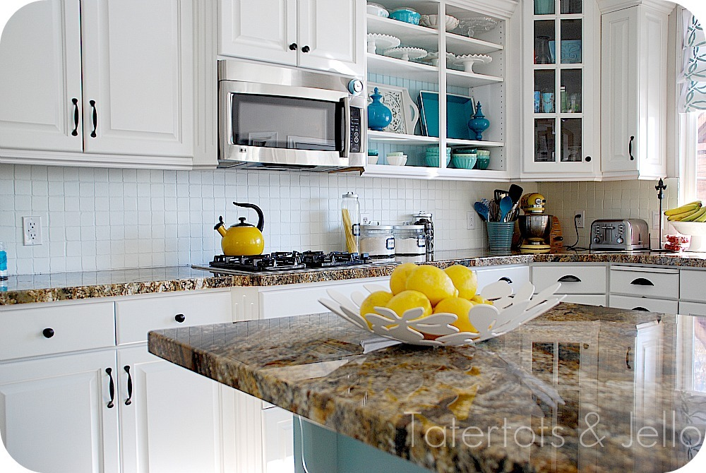 She even painted the backsplash that was there to lighten it up as