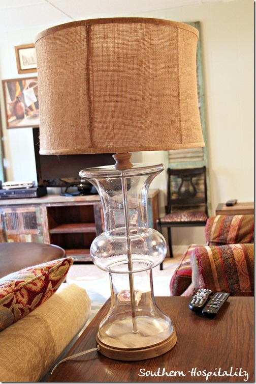 glass lamp with burlap shade from Kirklands