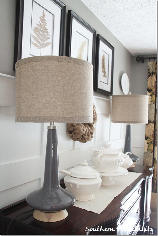 gray with burlap shades