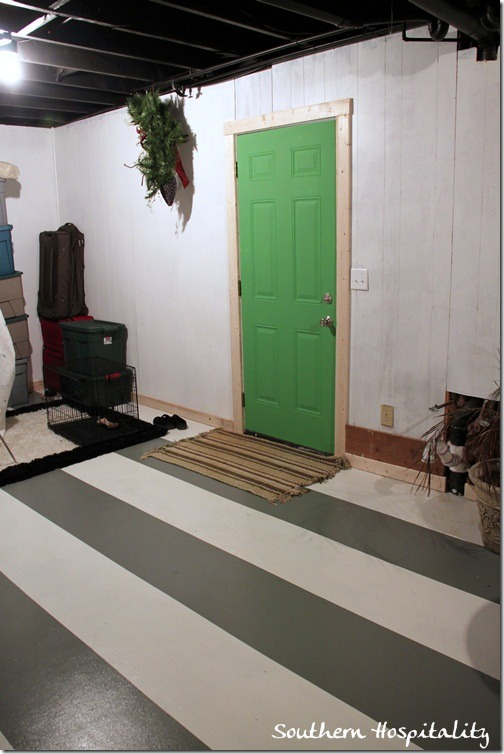 long shot laundry room green door