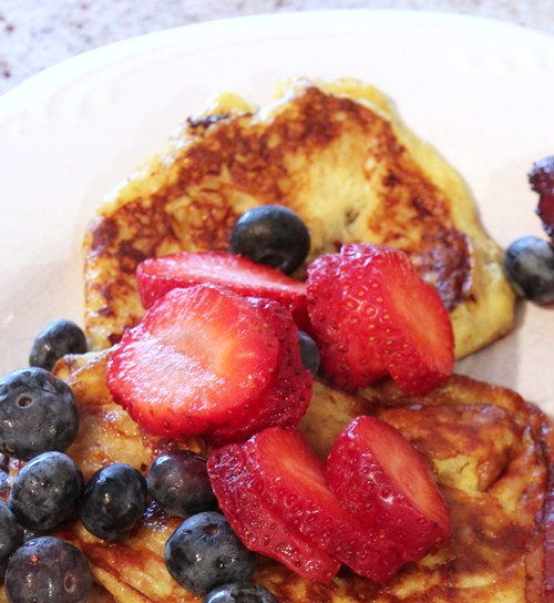 paleo banana pancakes with fruit
