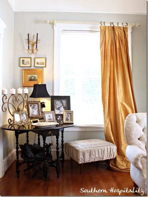corner table and drapes