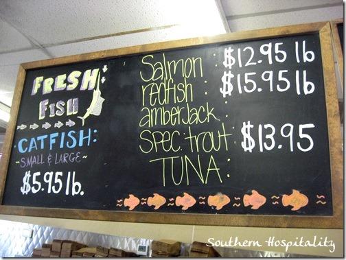 fresh seafood sign