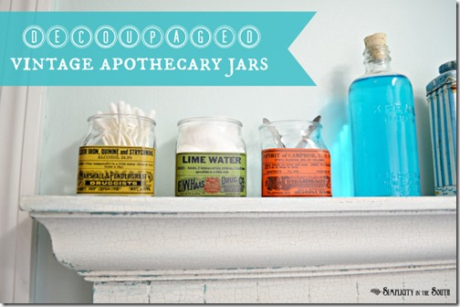 decoupaged-vintage-apothecary-jars