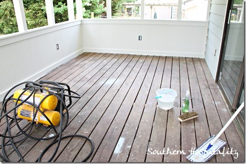 mopping porch floor