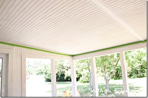 updates on the porch: blue ceiling - southern hospitality - Covered Patio Ceiling Ideas