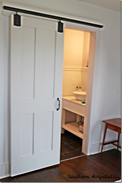 sliding barn door bathroom