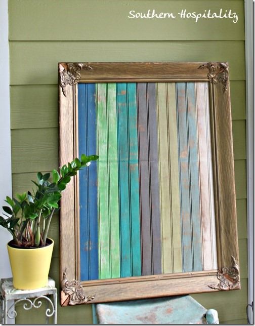framed and painted beadboard