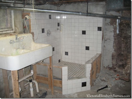 Small-custom-bath-and-shower-with-black-and-white-tile.-An-unusual-design-for-a-bathroom.