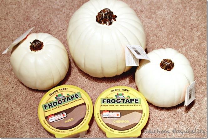 white faux pumpkins