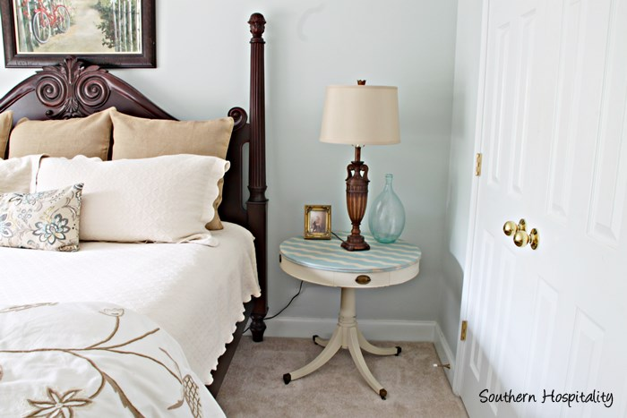 bed and side table
