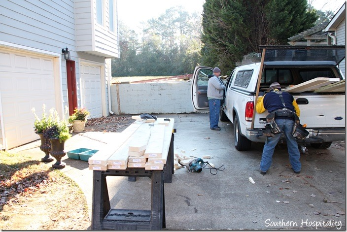 setting up for front portico build