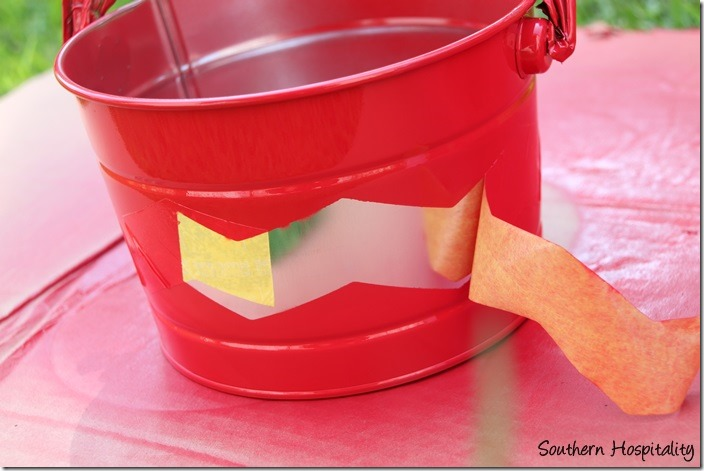 spray painted bucket