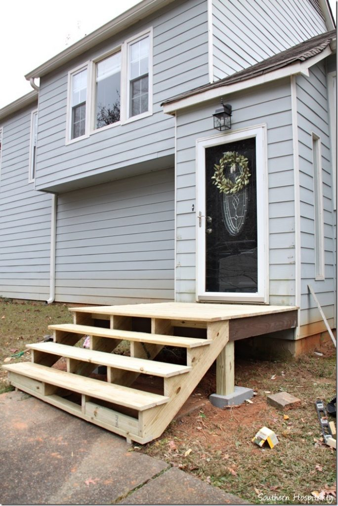 stairs from side diy portico building