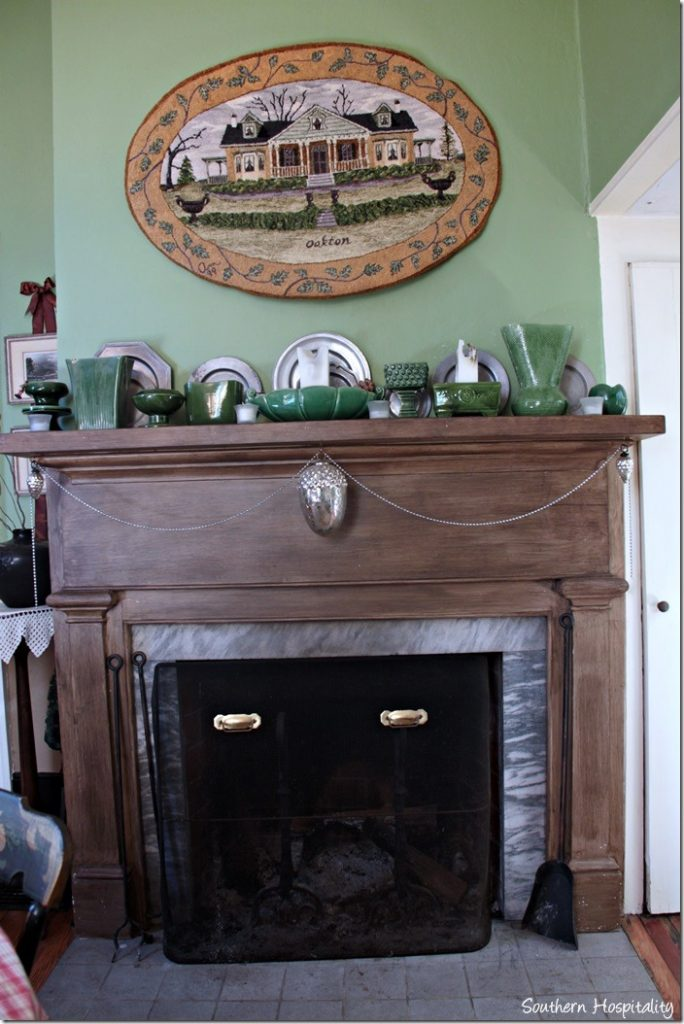 green dining fireplace