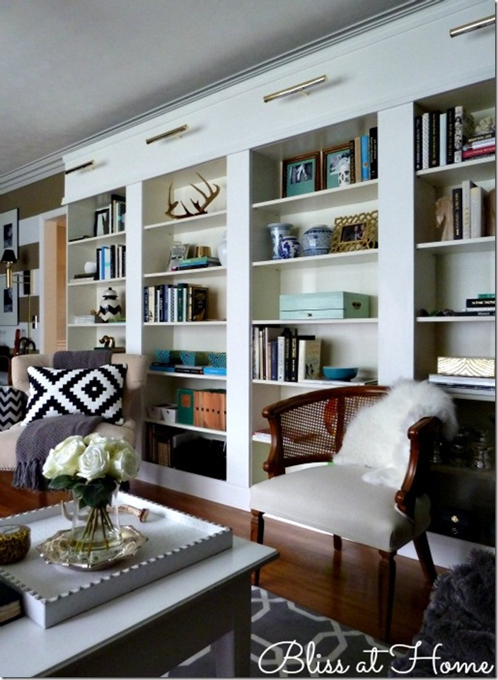 Kristin At Bliss Home Did This Beautiful Wall Of Billy Bookcases With Her Hubby Putting It All Together They Added Lighting Above For A Really Custom