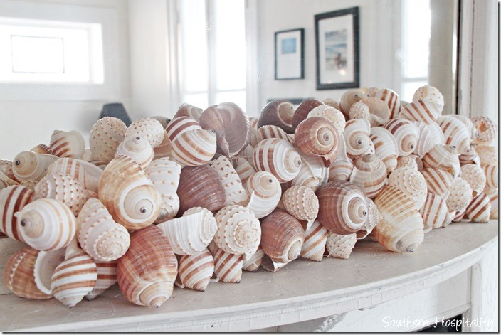 white caps shells on fireplace