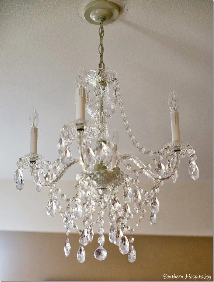 Lovely The pretty crystal chandelier came from Pottery Barn and her parents and I got that for her It adds just that touch of bling to the room