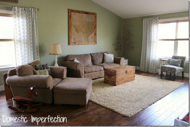 Living roomFeature Friday  Domestic Imperfection   Southern Hospitality. Green Paint Living Room. Home Design Ideas