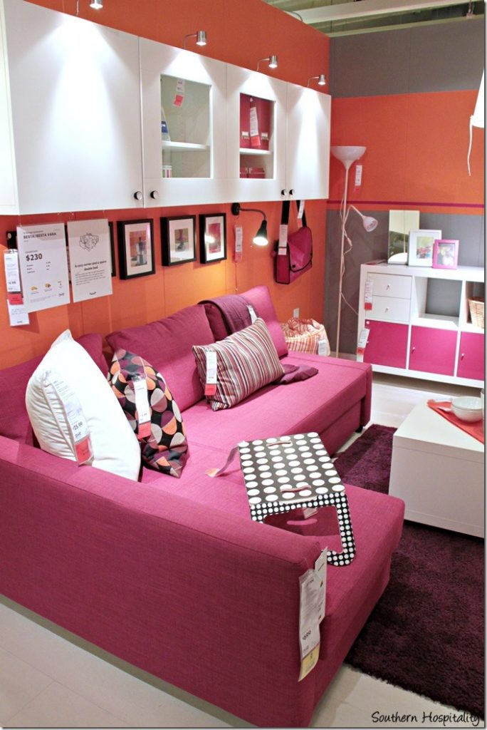 pink room display ikea