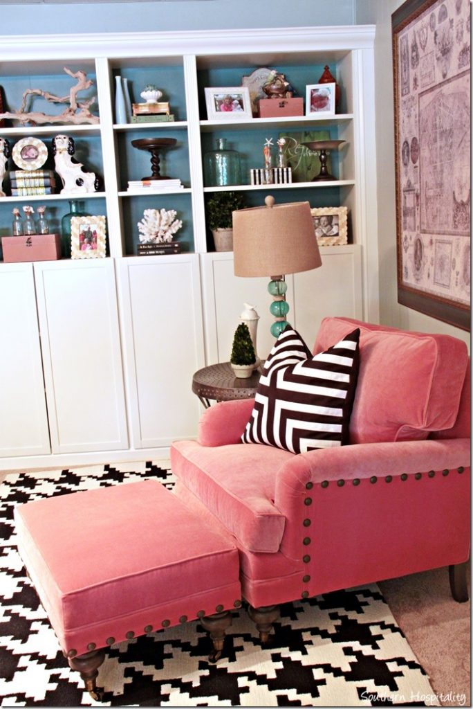 coral Ballard designs chair and bookcases