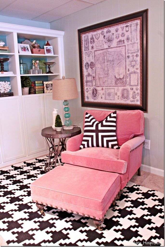 coral chair black and white rug