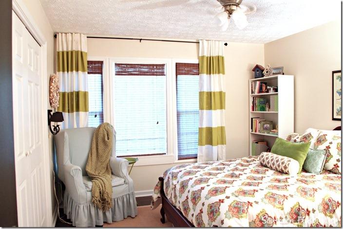striped drapes on windows