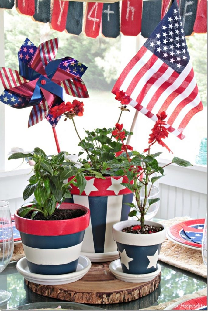 patriotic clay pots centerpiece for the 4th of july