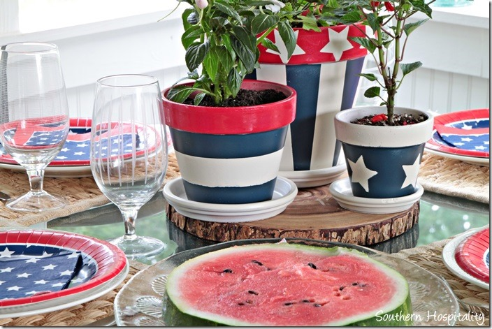 painted red white and blue pots