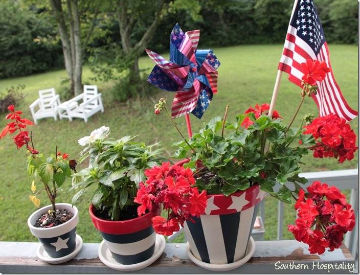 red white and blue planters