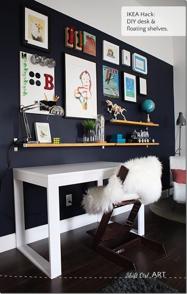 Bs-blue-wall-tween-make-over-reveal-diy-desk-and-shelves-IKEA-hack