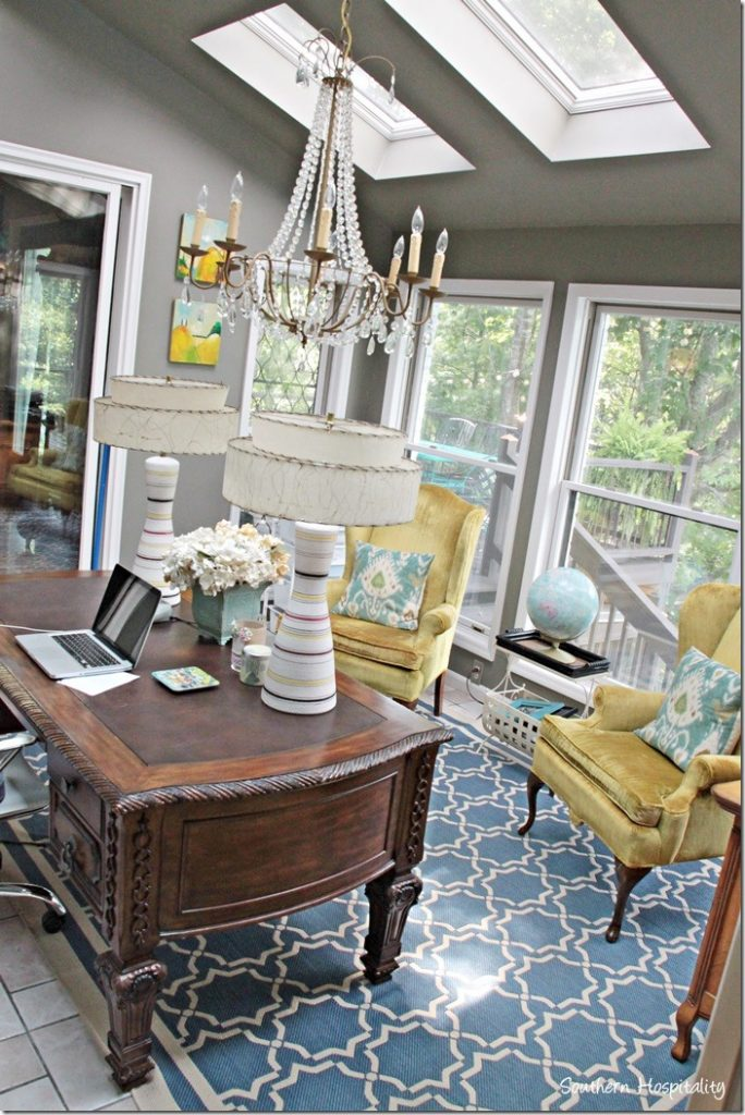 Feature friday bella tucker southern hospitality for Sunroom office design