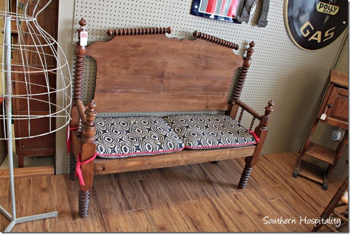An old spool bed made into a bench  really cute. Browsing Big Shanty Antiques   Southern Hospitality