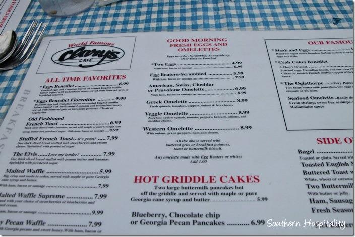 clarys menu