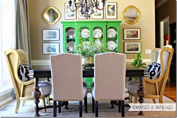 dining room 12 wm. The dining room with a green painted china cabinet ...