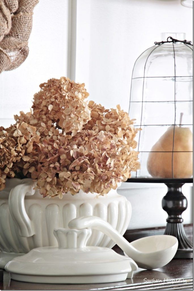 dried hydrangeas in soup tureen