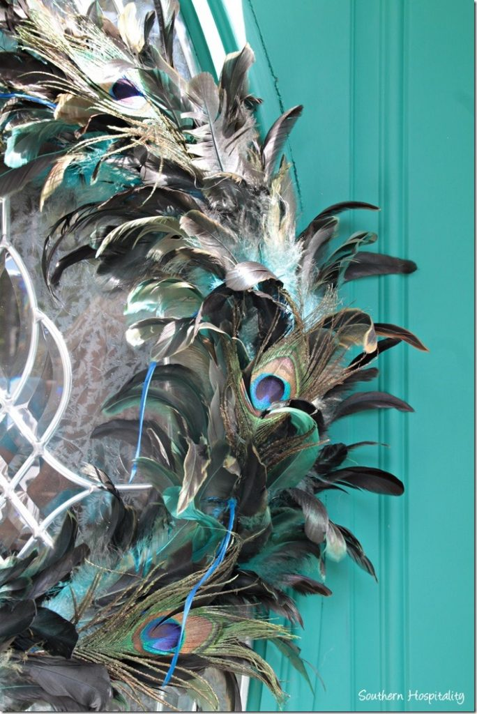front door peacock wreath