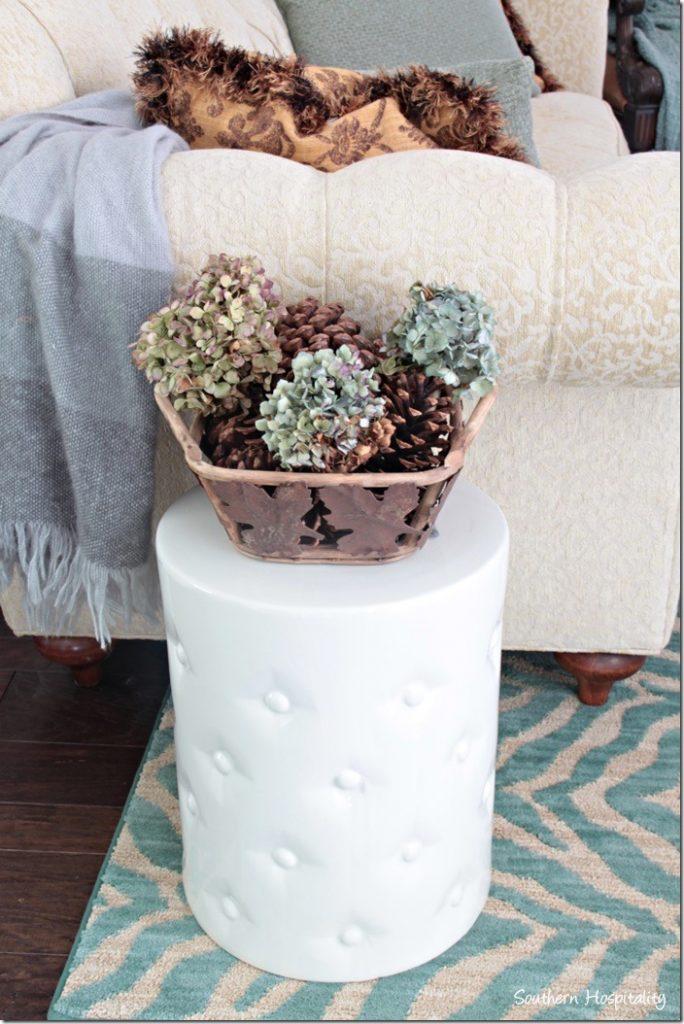 garden stool with fall decor
