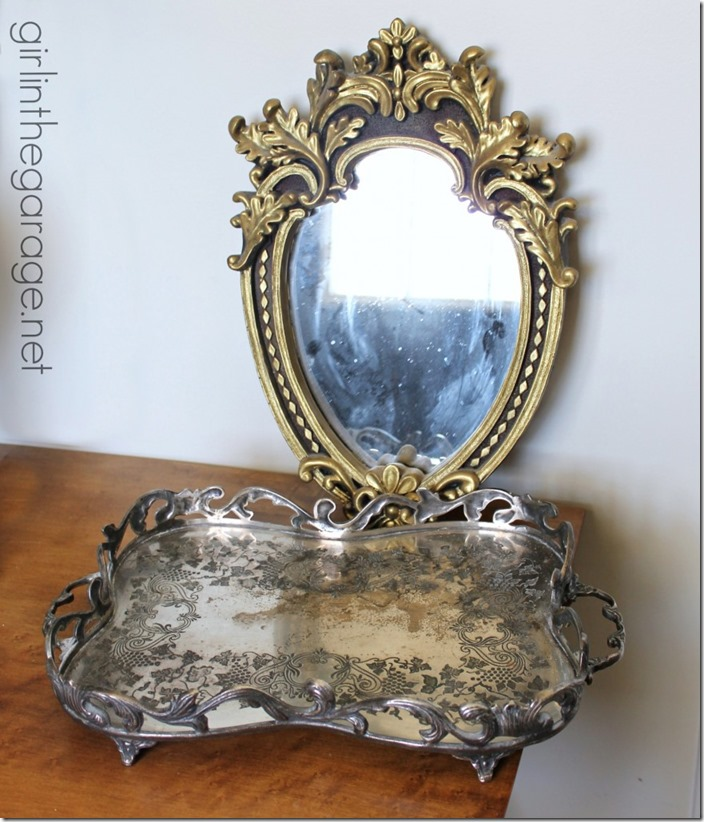 girl in the garage-ornate-mirror-antique-silver-serving-tray-876x1024