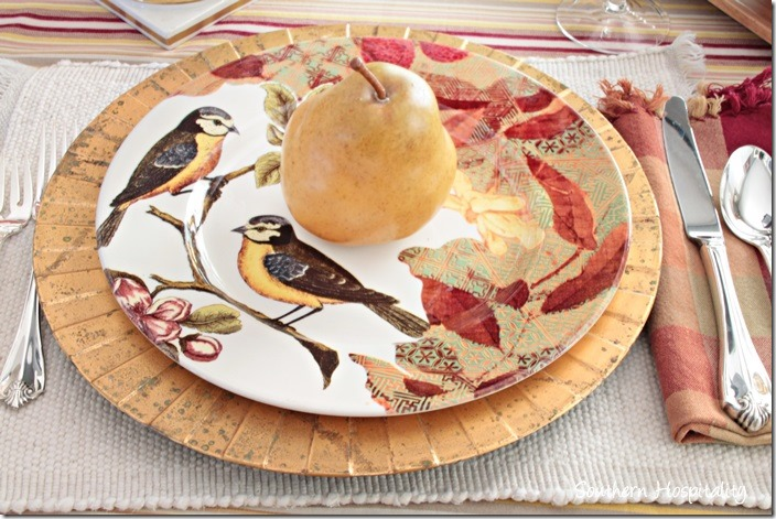 bird plates and pear