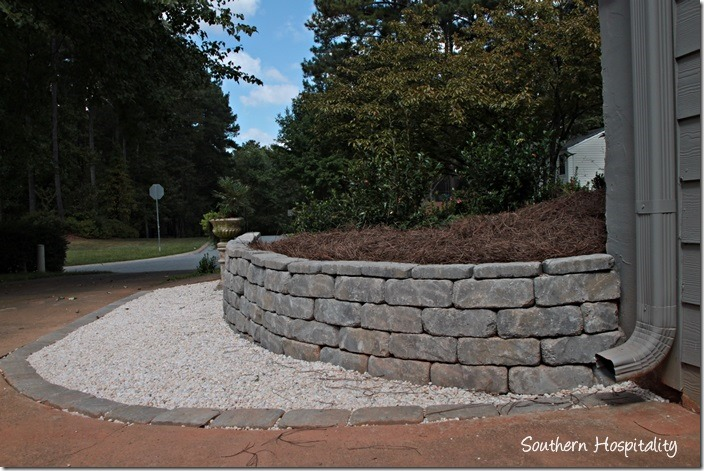 by garage retaining wall