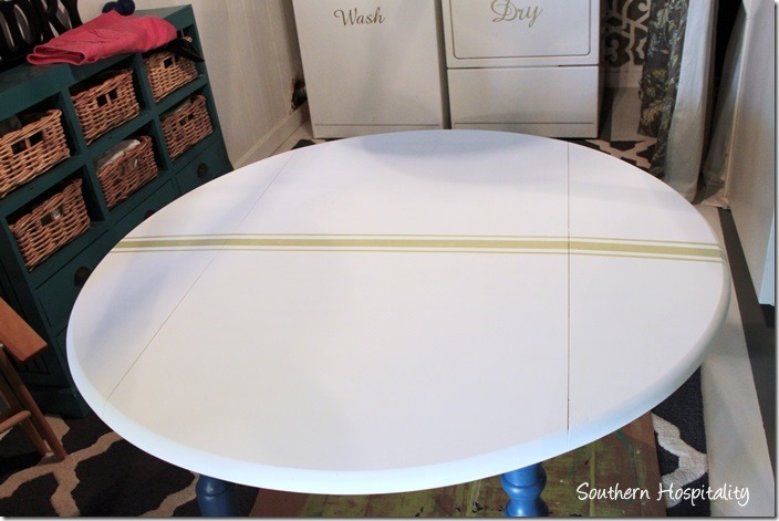 drop leaf table with stripes