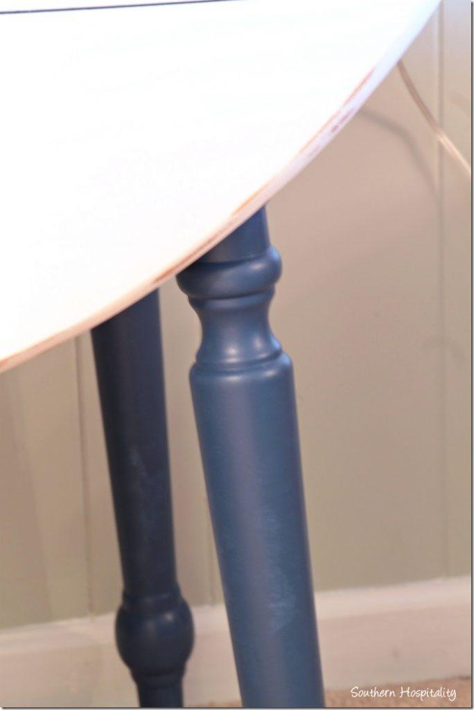 dropleaf table blue legs