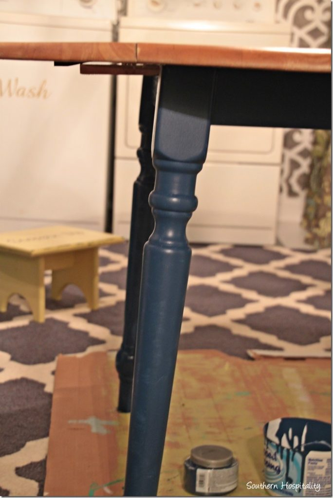 legs painted blue